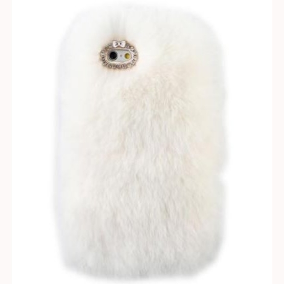iPHONE 4/5 White Faux Fur Luxury Cellphone Case